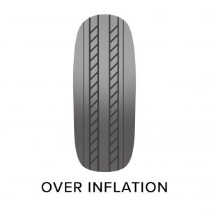 over inflated tyre, common tyre problems