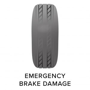 Emergency brake damage to tyre, common tyre problems